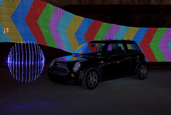 Light Painted Mini Cooper