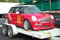 Mini Coopefr on trailer for trip to SEMA
