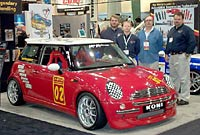 Mini Cooper with Kone shocks logo at SEMA
