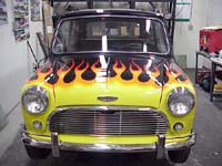 Mini Cooper with Yellow Flames