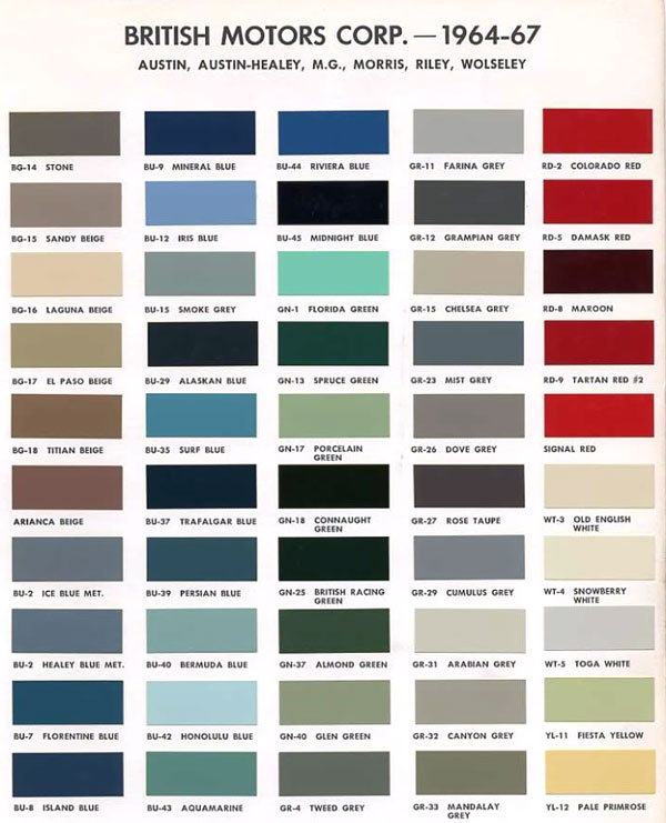 austin version of bmc paint color codes. Black Bedroom Furniture Sets. Home Design Ideas