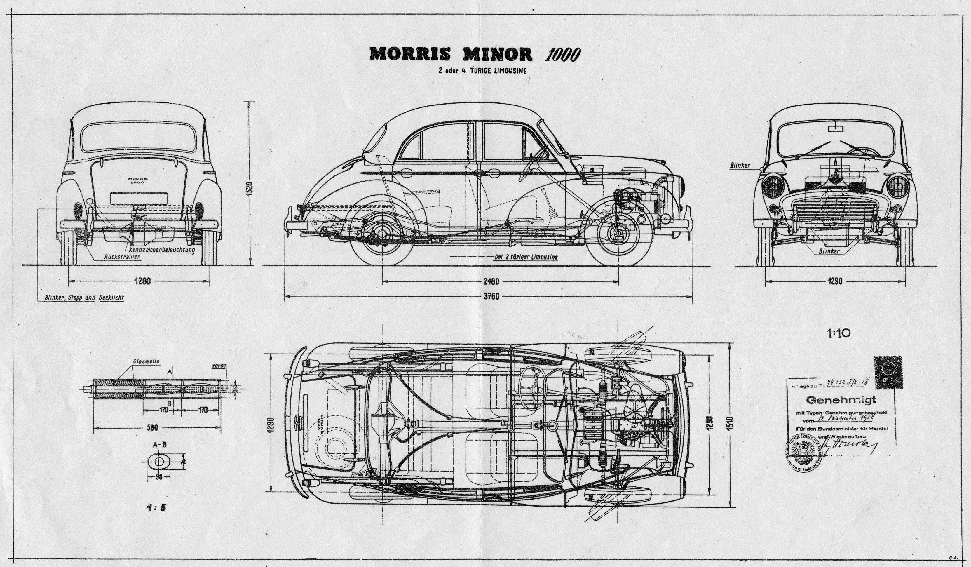 The morris minor a british miracle for Cad blueprints