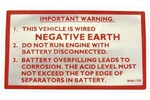 Classic Austin Mini Negative Earth Label (red,silver)