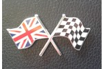Classic Austin Mini Enameled Union Jack And Checkered Flag , Self Adhesive