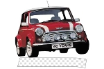 Austin Mini White Shadow Checkered Bonnet Stripes Pair
