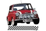 Classic Austin Mini Late Bonnet Stripe Black And White Sold As Pair