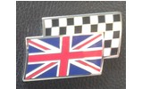 Classic Mini Enameled Badge-union Jack With Checkered Flag Motif-self Adhesive