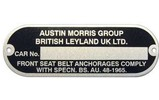 Classic Austin Mini Chassis Vin Number Plate Austin , Morris , Leyland