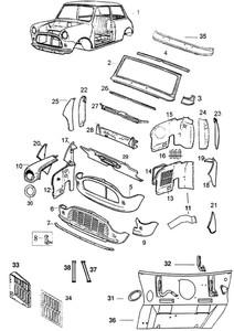 Classic Mini Cooper Front Panels Hoods