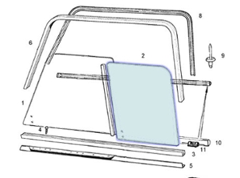 Classic Austin Mini Rear Side Glass Sliding Window Type, 2 Holes