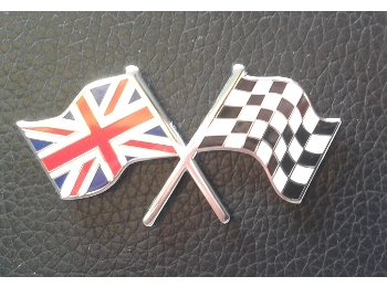 Austin Mini Enameled Union Jack And Checkered Flag , Self Adhesive 2 X 1 Inch