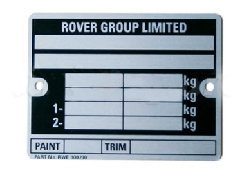 Classic Austin Mini Vin Chassis Plate , Late Rover Cars