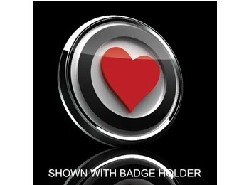 Mini Cooper & S 3d Badge Insert - Red Heart Over White W/black Trim