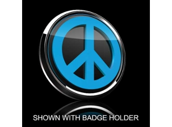 3d Badge Insert - Peace Sign Blue Over Black
