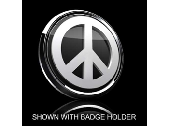 3d Badge Insert - Peace White Over Black