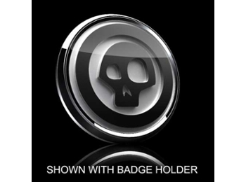 3d Badge Insert - Skull Black Over White W/black Trim