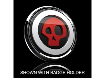 3d Badge Insert - Skull Red Over Black W/white Trim