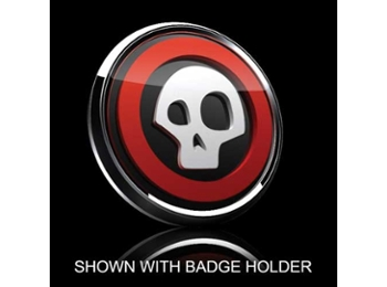 3d Badge Insert - Skull White Over Black W/red Trim
