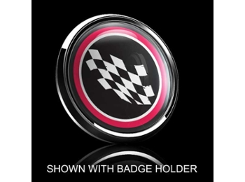 Dome Style 3 Inch Magnetic Badge - Checkered Flag Red Trm