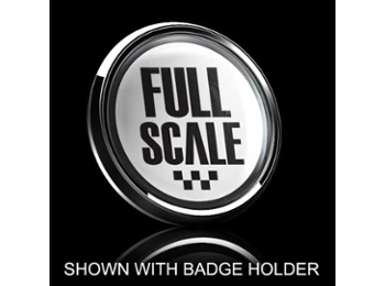 Dome Style 3 Inch Magnetic Badge - Full Scale Over White
