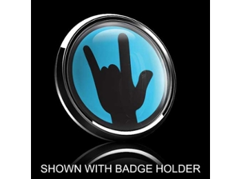 Dome Style 3 Inch Magnetic Badge - Rockon Blue