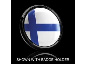 Dome Style 3 Inch Magnetic Badge - Finland Flag