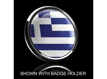 Dome Style 3 Inch Magnetic Badge - Greek Flag