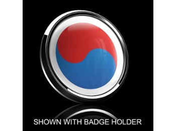 Dome Style 3 Inch Magnetic Badge - South Korean Flag