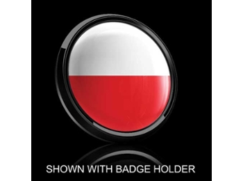 Dome Style 3 Inch Magnetic Badge - Polish Flag