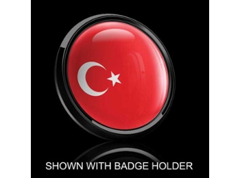 Dome Style 3 Inch Magnetic Badge - Turkish Flag