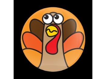 Dome Style 3 Inch Magnetic Badge - Thanksgiving Turkey