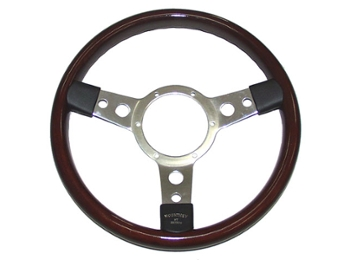 Classic Austin Mini 13 3 Spoke Wood Rim Chrome Semi Dished Steering Wheel