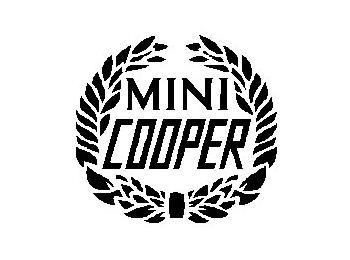 Austin Mini Decal White Wreath 'mini Cooper
