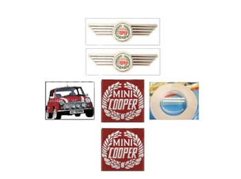 Classic Austin Mini Sportspack And Cooper Early White Decal And Badge Set