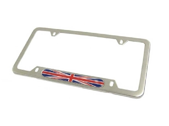 License Plate Frame Union Jack Ea - Brushed Stainless Steel