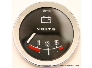 Classic Austin Mini Smiths Voltmeter 52mm Black Face