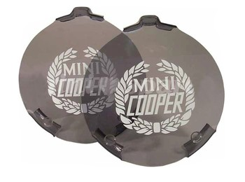 Classic Austin Mini Spot Lamp Cover Pair Smoked Cooper Branded Pair