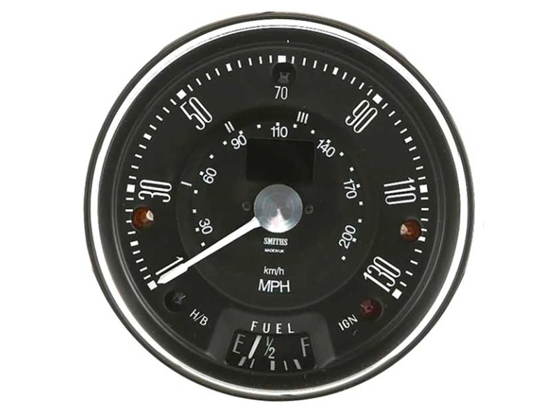 Classic Austin Mini Smiths 130 Mph Electronic Programmable Speedometer, Blk Face