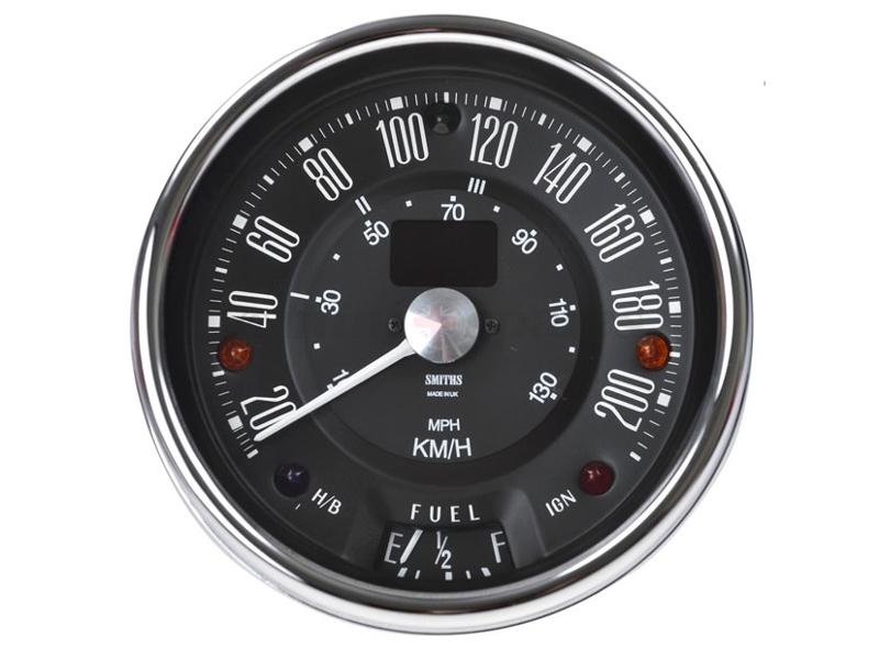 Classic Mini Smiths 200 Kph Electronic Programmable Speedometer, Black