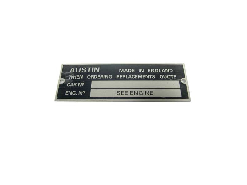 Chassis Vin Number Plate Tag Austin Sprite