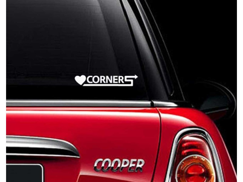 Mini Cooper Gographic Decal 'love Corners'