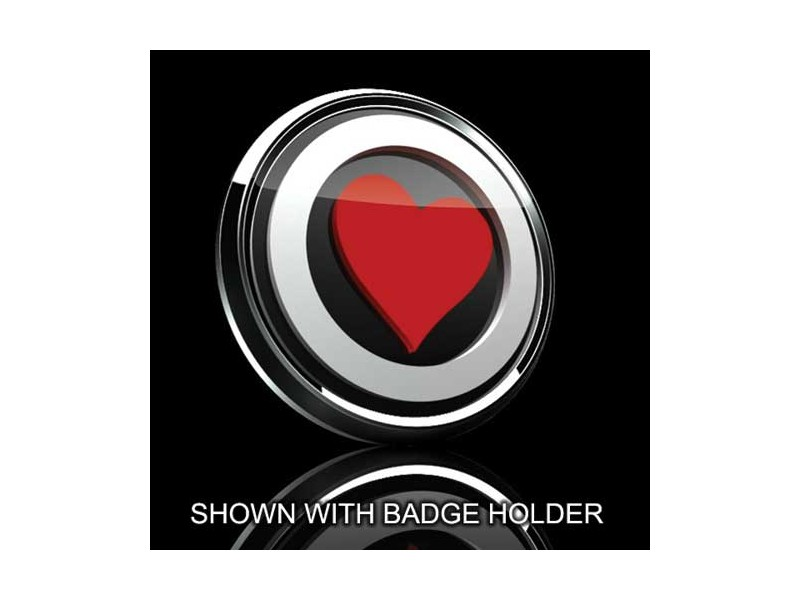 Mini Cooper & S 3d Badge Insert - Red Heart Over Black W/white Trim