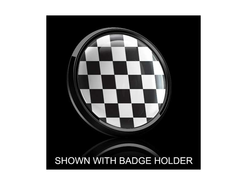 Dome Style 3 Inch Magnetic Badge - Checkered Pattern
