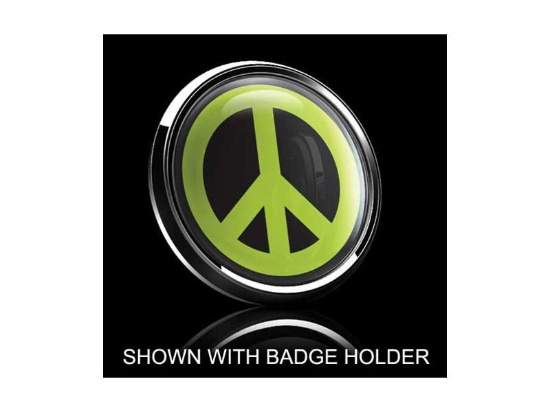 Dome Style 3 Inch Magnetic Badge - Peace Sign Green