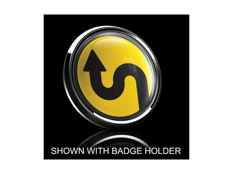 Dome Style 3 Inch Magnetic Badge - Sideway Curve Over Yellow