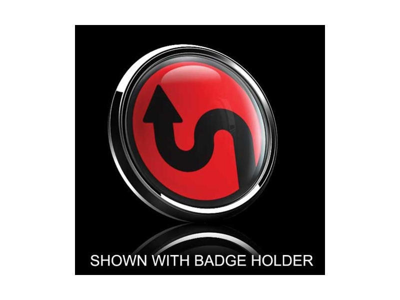 Dome Style 3 Inch Magnetic Badge - Sideway Curve Over Red