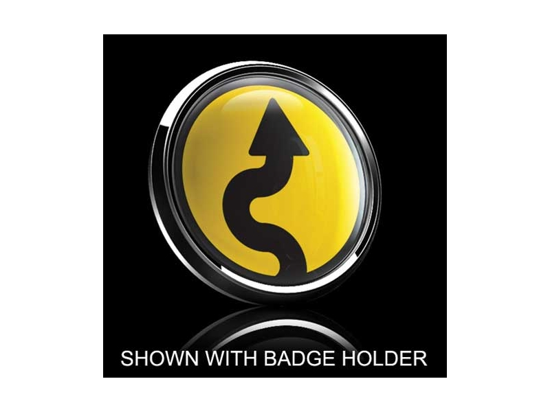 Dome Style 3 Inch Magnetic Badge - Vertical Curve Over Yellow