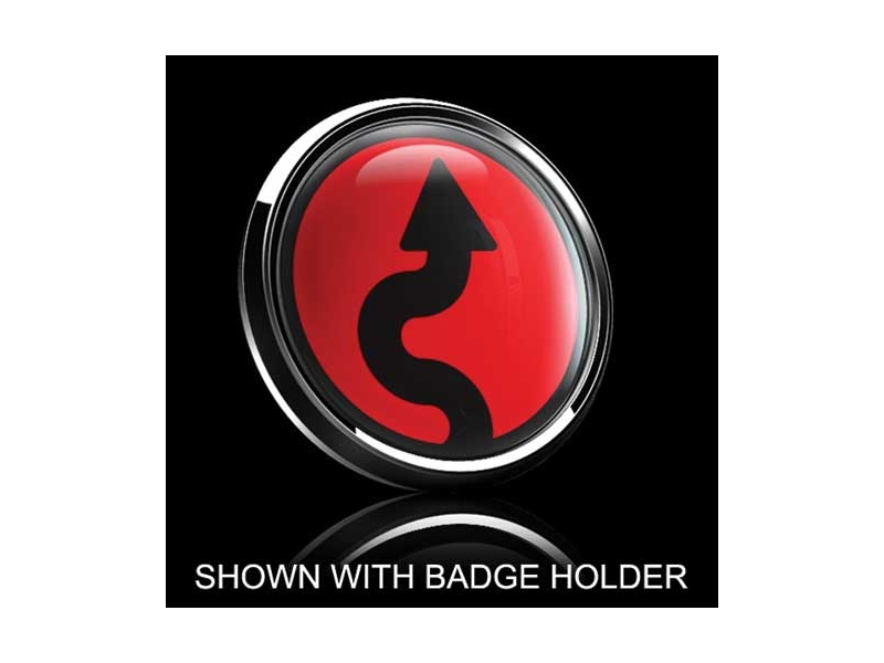 Dome Style 3 Inch Magnetic Badge - Vertical Curve Over Red