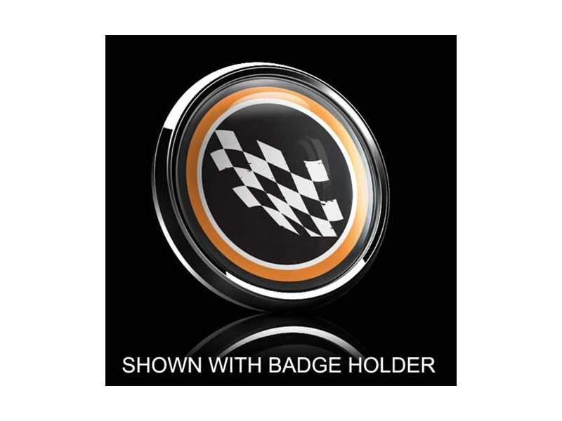 Dome Style 3 Inch Magnetic Badge - Checkered Flag Orange Trm