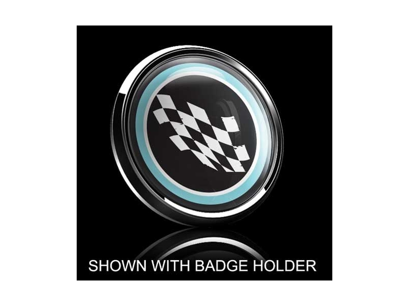 Dome Style 3 Inch Magnetic Badge - Checkered Flag Blue Trim